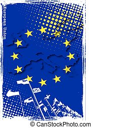 EU poster - EU map on the flag