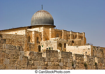 Black dome -  A black dome of mosque Al- Aqsa in Jerusalem