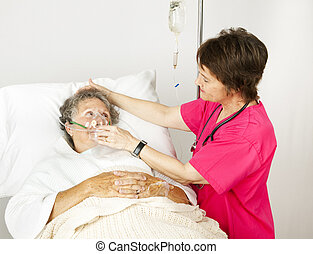 Oxígeno, máscara, hospital