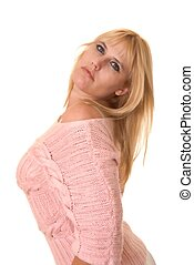 Plus Size Model - Plus size lovely blond girl isolated over...