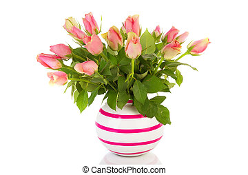 Bouquet pink roses in striped vase isolated over white