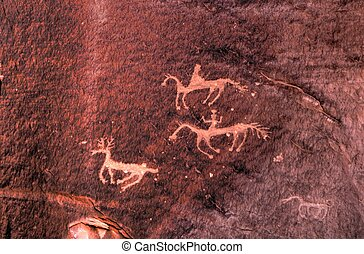 Petroglyphs - Hopi Indian rock carvings from the 15th...