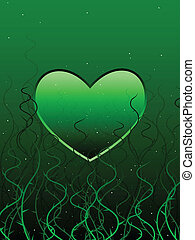 Tangled heart - Envious green heart entangled in vines and...