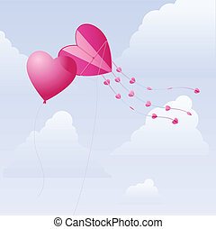 Love kite and balloon