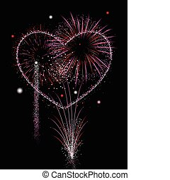 Fireworks of love - Valentines Day Fireworks in pink and red...