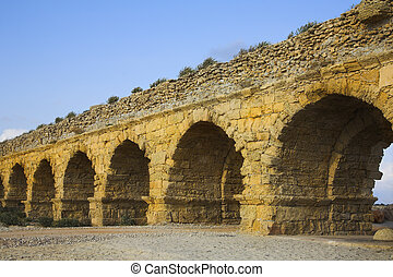 The aqueduct of the Roman period at coast of Mediterranean...