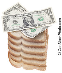 Food Budget Concept with Stack of Bread and American...
