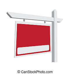 Blank Red Vector Real Estate Sign Ready For Your Own Message...