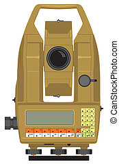 Total station - Vector illustraion of digital geodetical...
