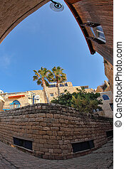 The Old Yaffo. Clear serene day - Narrow street in Old...