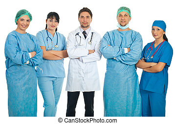 Team of five doctors standing with hands crossed isolated on...