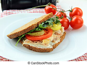 big healthy sandwiches made with whole grain bread, turkey...