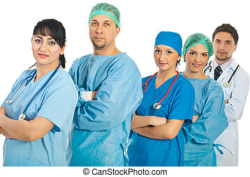Group of different doctors - Group of different hospital...