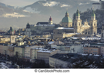 city Salzburg in Austria - panorama view over famous city...