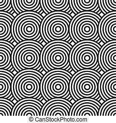 Black-and-white abstract background with circles Seamless...