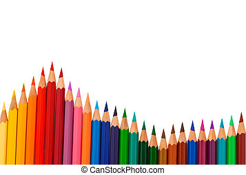 Colored pencils on white background - Many different colored...