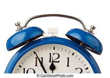 alarme, relógio, mostra, cinco, antes de, doze