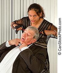 Secretary revenge - Office worker or secretary strangling...