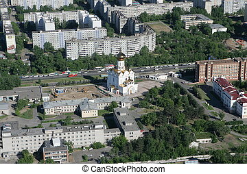 The city of Khabarovsk - Aerial Vie - Cityscape of shooting...