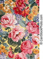 Floral Fabric 01 - Shot of an antique floral fabric