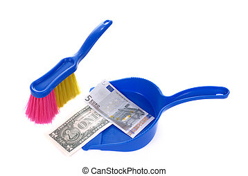 Brush sweeping euro and dollar banknote