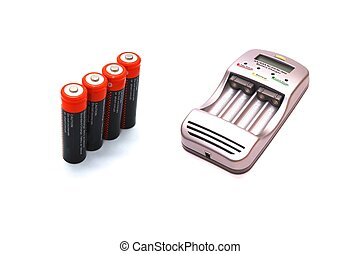 Charger and accumulators - photo of the charger and...