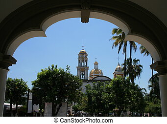 comala town in mexico - church marked with archs in the town...