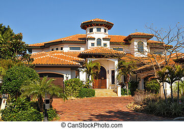 Spanish style home with tower - Traditional spanish home...