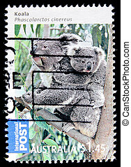 postage - A stamp printed in Australia shows koala, series,...