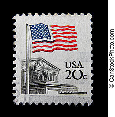 postage - A post stamp printed in the USA shows Flag Over...