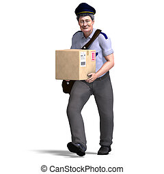 the nice postie carries a heavy package. 3D rendering with...
