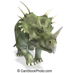 Dinosaur Styracosaurus 3D rendering with clipping path and...