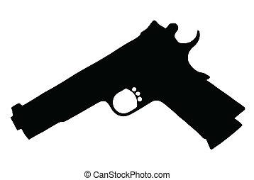 armas, silueta, cobrança, -, armas fogo