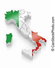 Map of Italy in Italian flag colors. 3d