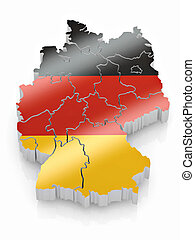 Map of Germany in German flag colors 3d