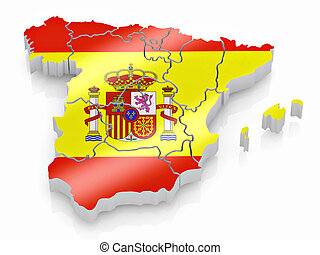 Map of Spain in Spanish flag colors