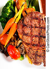 grilled ribeye steak - fresh grilled ribeye steak with...