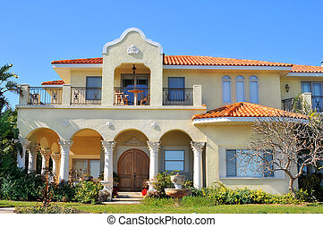 Spanish style waterfront home - Beautiful neo-mediterranean...