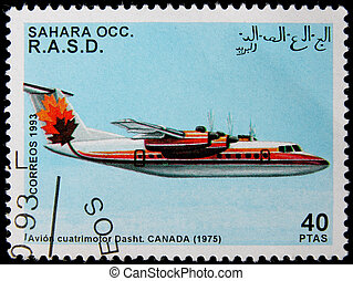 postage stamp - A stamp printed in Sahara OCC. R.A.S.D...