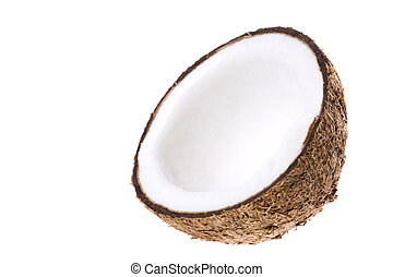 Coconut Isolated - Isolated image of a half cut coconut.