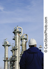 engineer and oil industry - engineer, worker, overlooking...