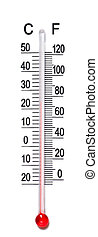 Thermometer scale - Macro view of mercurial thermometer...