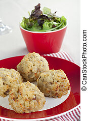 Risotto Appetizer Vertical - Risotto balls with a side...