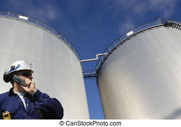 oil-worker and fuel storage - oil and fuel worker with...