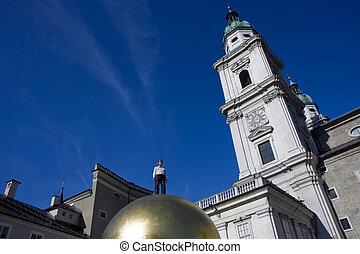 The Dome Cathedral in City Center of Salzburg, Austria