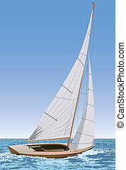 Sailing boat - Vector illustration of a sailing boat in the...