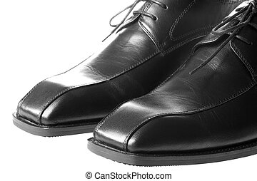 Men's Black Shoes - Isolated image of a pair of men's black...