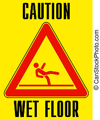 Bright yellow wet floor sign. EPS 8 vector file included