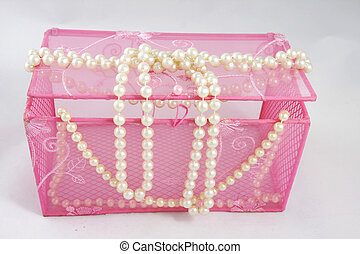 Pink casket and pearl beads