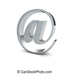 E-mail symbol - Rendering of an silver e-mail symbol